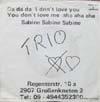 Cover: Trio - Da da da I don´t love you You don´t love me aha aha aha (englisch/deutsch)/Sabine Sabine Sabine (deutsch)