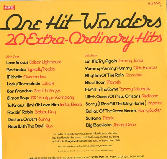Albumcover Various Artists of the 60s - One Hit Wonders - 20 Extra-ordinary Hits