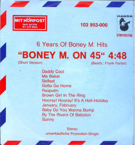 "Albumcover Boney M. - Boney M. on 45"" - 6 Years of Boney M Hits"