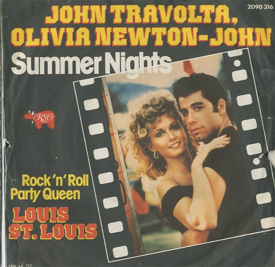 Albumcover Grease - Summer Nights (John Travolta + Olivia Newton-John) / Rock´n´Roll Party Queen (Louis St. Louis)