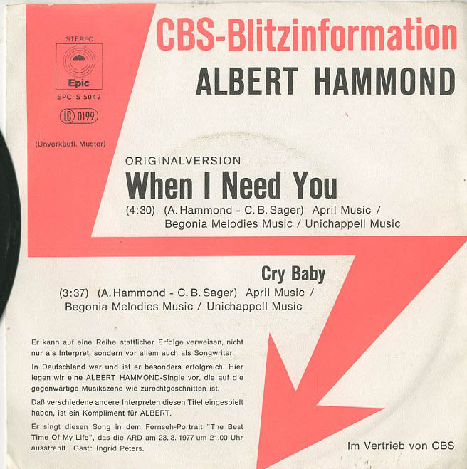 Albumcover Albert Hammond - When I Need You / Cry Baby (CBS Blitzinformation)