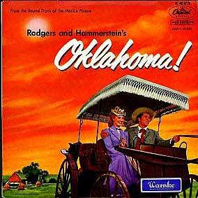 Albumcover Oklahoma - EP From the Soundtrack of the Motion Picture, mit Gordon McRae, Gloria Grahame u.a.Vier Titel: Oklahoma, People Will Say, Oh What A Beautiful Mornin,